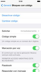 Activa o desactiva el uso del código de seguridad - Apple iPhone 5c - Passo 7