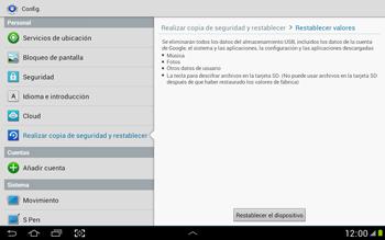 Restaura la configuración de fábrica - Samsung Galaxy Note 10-1 - N8000 - Passo 6