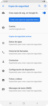 Realiza una copia de seguridad con tu cuenta - Samsung Galaxy A80 - Passo 11