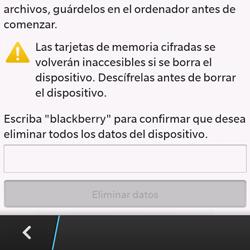 Restaura la configuración de fábrica - BlackBerry Q10 SQN100 – 1 - Passo 6