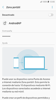 Configura el hotspot móvil - Samsung Galaxy A7 2017 - A720 - Passo 7