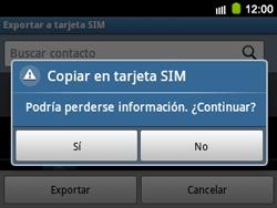 ¿Tu equipo puede copiar contactos a la SIM card? - Samsung Galaxy Y Pro GT - B5510 - Passo 8