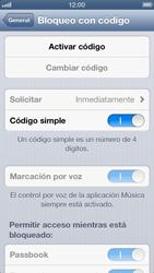 Activa o desactiva el uso del código de seguridad - Apple iPhone 5 - Passo 4