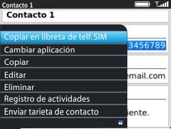 ¿Tu equipo puede copiar contactos a la SIM card? - BlackBerry Curve 9320 - Passo 6