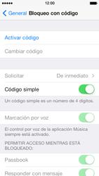 Activa o desactiva el uso del código de seguridad - Apple iPhone 5s - Passo 4