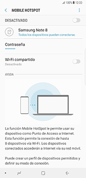 Configura el hotspot móvil - Samsung Galaxy Note 8 - Passo 12