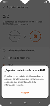 ¿Tu equipo puede copiar contactos a la SIM card? - Samsung Galaxy A10 - Passo 12