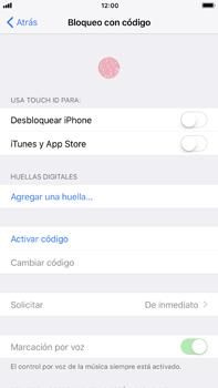 Activa o desactiva el uso del código de seguridad - Apple iPhone 7 Plus - Passo 3