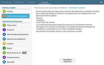 Restaura la configuración de fábrica - Samsung Galaxy Note Pro - Passo 7