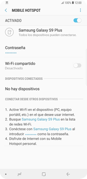 Configura el hotspot móvil - Samsung Galaxy S9 Plus - Passo 14