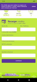 Recarga con tarjeta de crédito/débito - Android VIVA APP - Passo 6