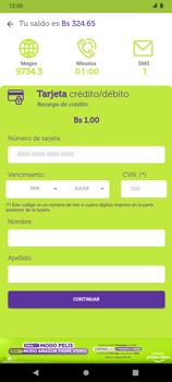 Recarga con tarjeta de crédito/débito - Android VIVA APP - Passo 9