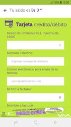 Recarga con tarjeta de crédito/débito - Android VIVA APP - Passo 5