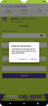 Pago de facturas con tarjeta de crédito/débito - Android VIVA APP - Passo 12
