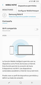 Configurar para compartir el uso de internet - Samsung Galaxy Note 8 - Passo 9
