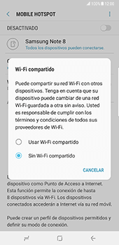 Configurar para compartir el uso de internet - Samsung Galaxy Note 8 - Passo 7
