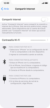 Configurar para compartir el uso de internet - Apple iPhone X - Passo 12