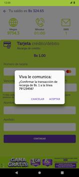 Recarga con tarjeta de crédito/débito - Android VIVA APP - Passo 11